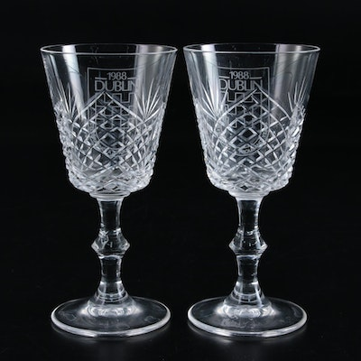1988 Dublin Millenium Commemorative Crystal Wine Glasses