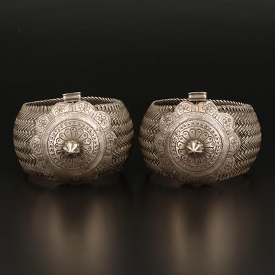 Madhya Pradesh Sterling Vauk Armlets with Basketweave Chased Medallions