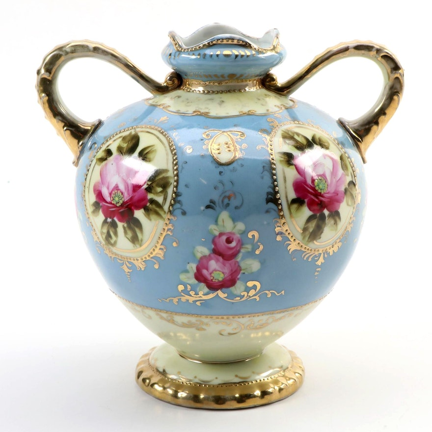 Nippon Hand-Painted Double Handled Porcelain Vase , Late 19th/Early 20th C.