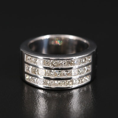 14K 1.90 CTW Diamond Triple Row Ring