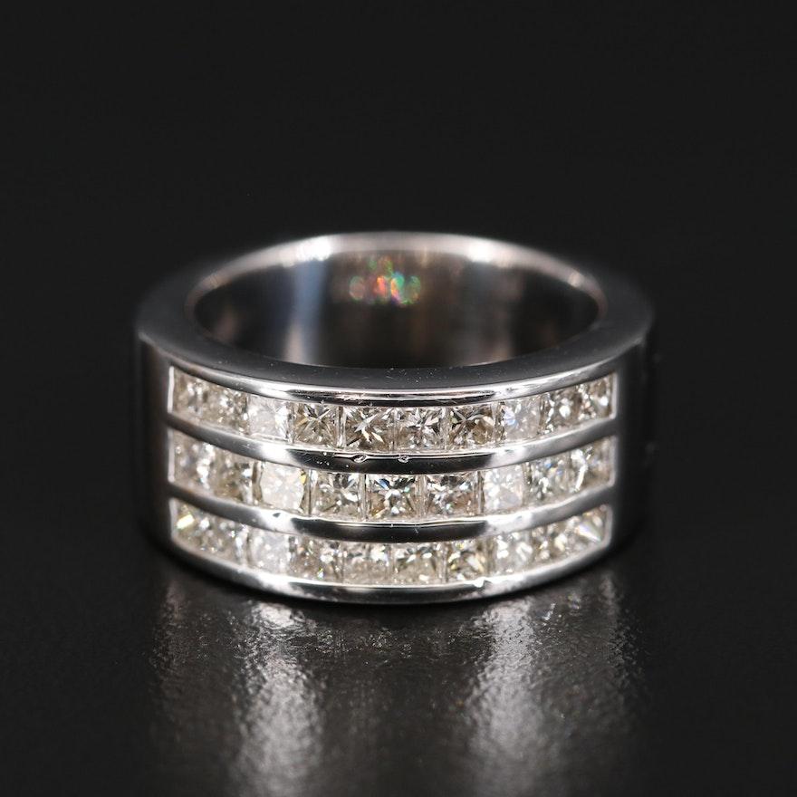 14K 1.90 CTW Diamond Triple Row Ring