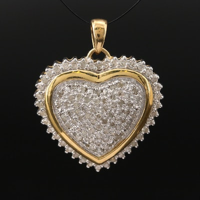 Sterling Silver 1.00 CT Pavé Diamond Heart Pendant