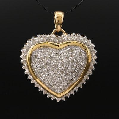 Sterling Silver 1.00 CT Pavé Diamond Heart Pendant