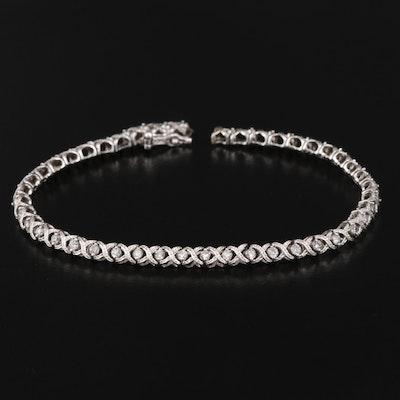 "10K 1.00 CTW Diamond ""X"" Link Bracelet"