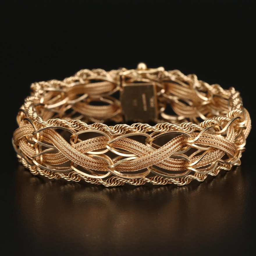 14K Braided Rope and Woven Mesh Bracelet
