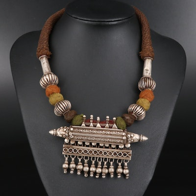 Vintage Indian Ta'wiz Amulet Necklace From Rajasthani Region
