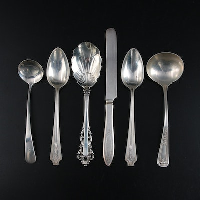 "Gorham ""Medici"" Sterling Silver Sugar Shell Spoon and Other Sterling Utensils"