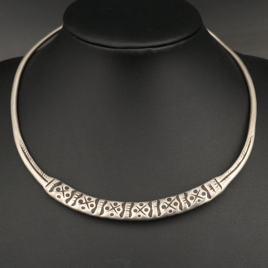 Vintage 800 Silver East Indian Rajasthani 800 Silver Stamped Collar