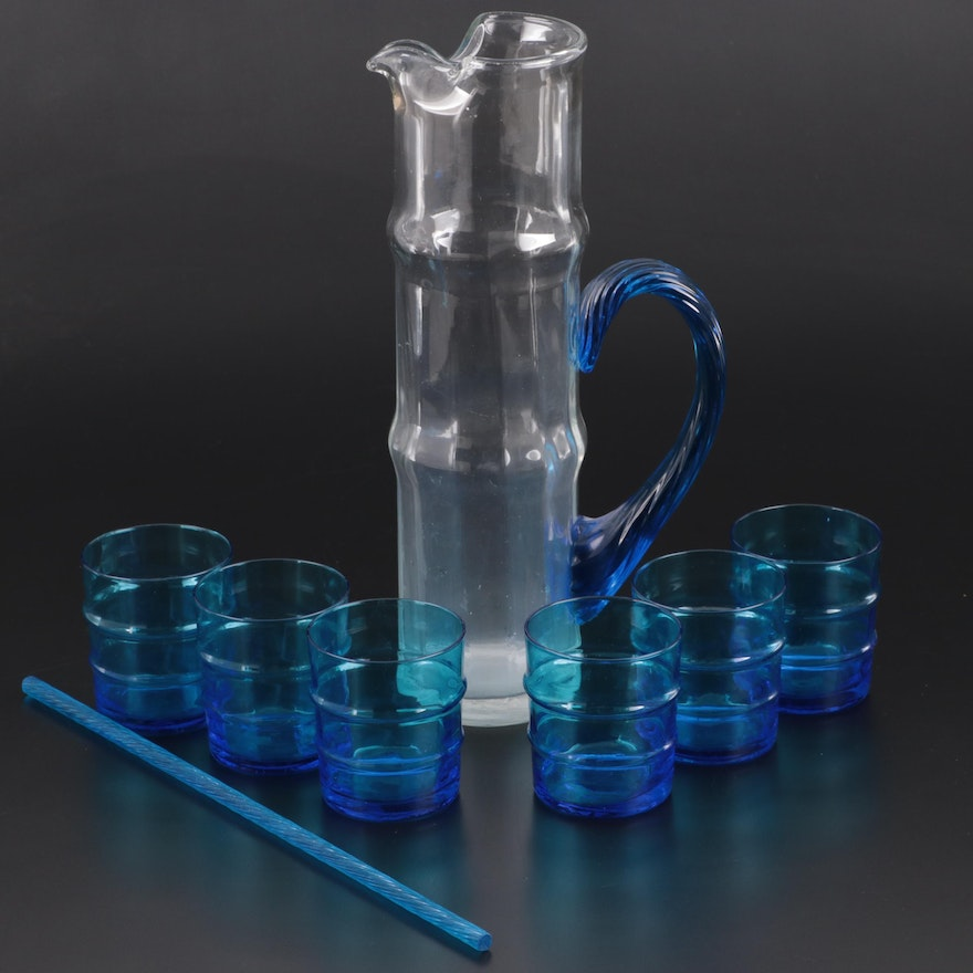 Glass Cocktail Pitcher and Tumblers