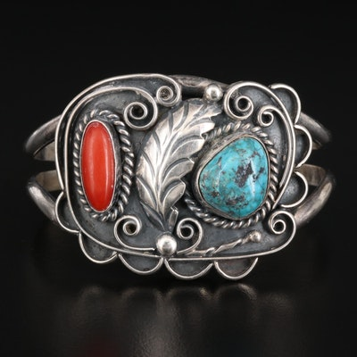 Signed Southwestern Style Sterling Coral and Turquoise Wirework Cuff