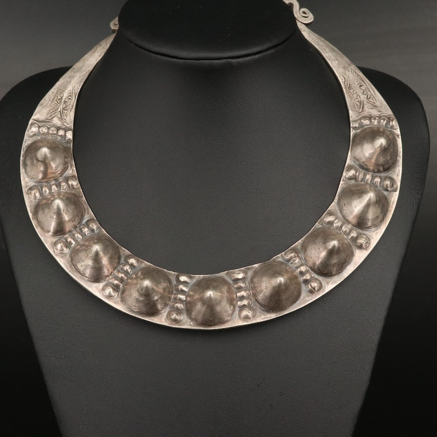 Indian Rajasthani 800 Silver Spiked Collar
