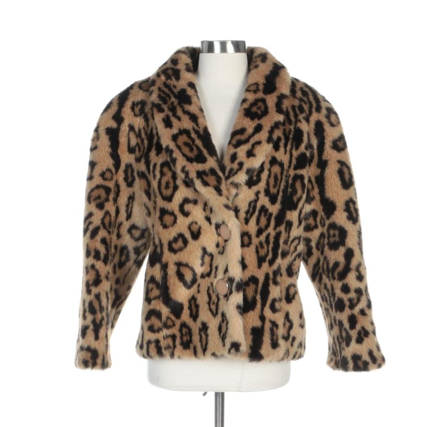 Leopard Print Faux Fur Shawl Collar Jacket