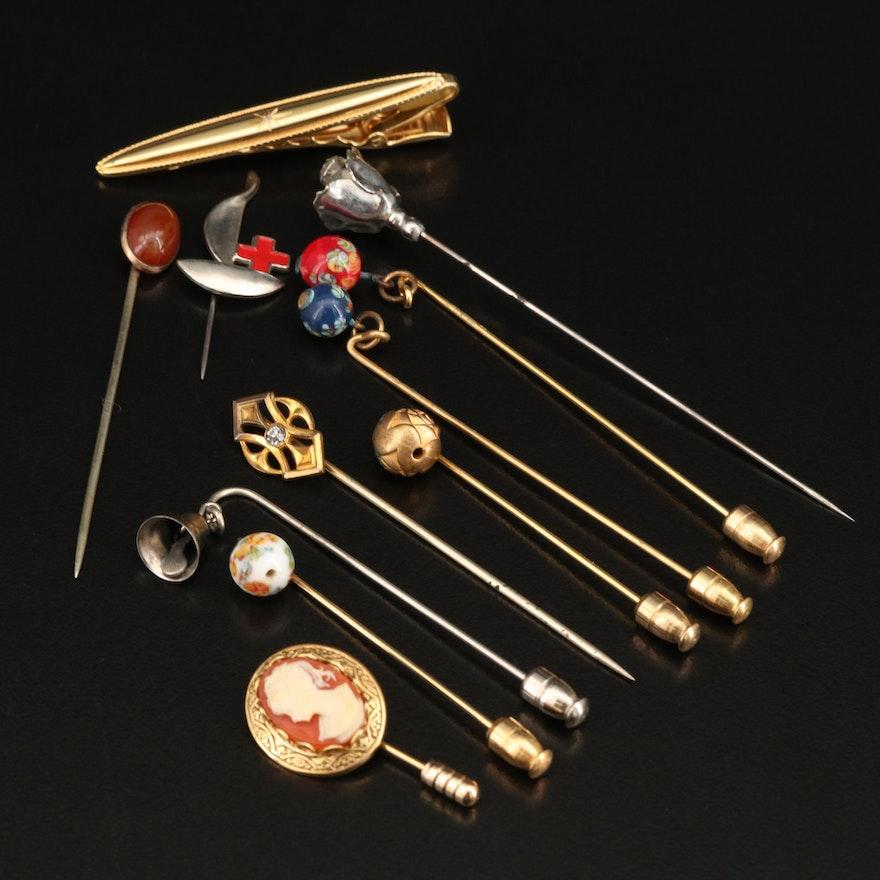 Stick Pins Including Enamel, Rhinestones and Cameo