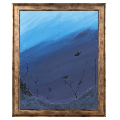 Nocturnal Landscape Acrylic Painting of Birds in Flight, 21st Century