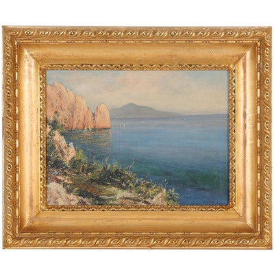 Coastal Landscape Oil Painting, Late 19th Century