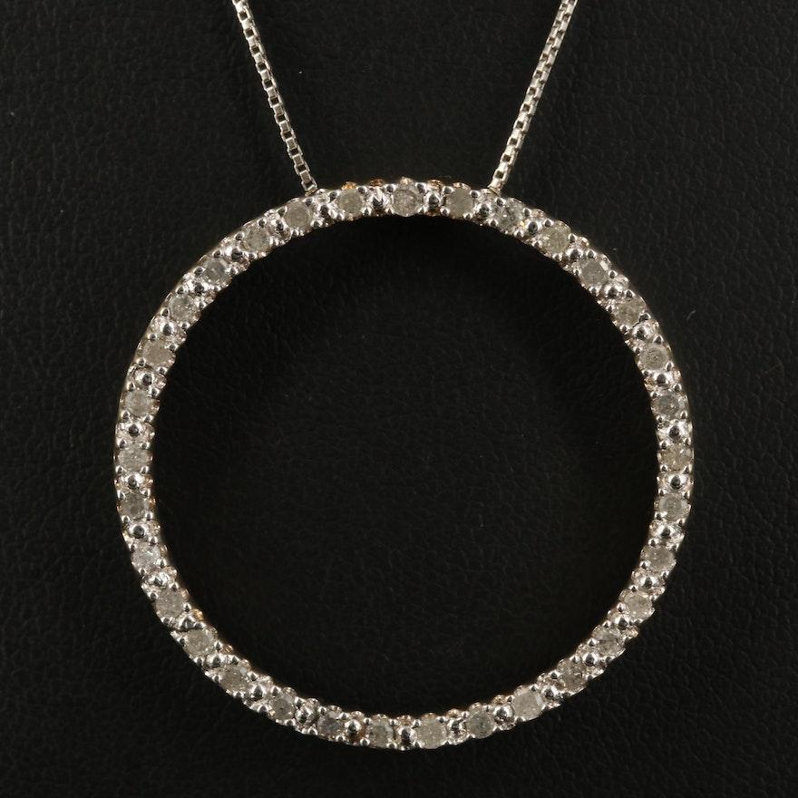Sterling Diamond Halo Pendant Necklace