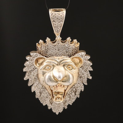 Sterling Diamond Lion Pendant