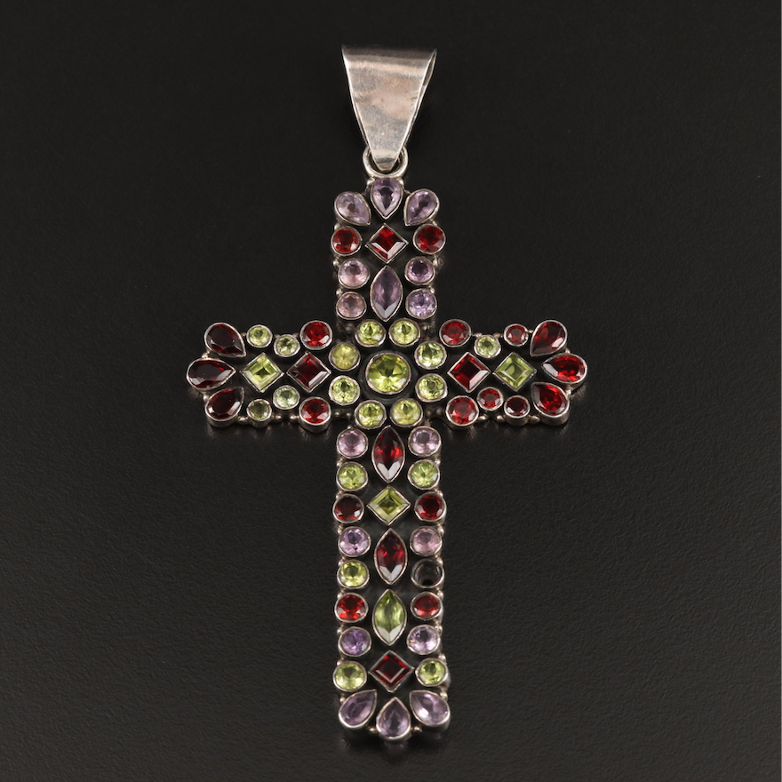 Sterling Peridot, Garnet and Amethyst Cross Pendant