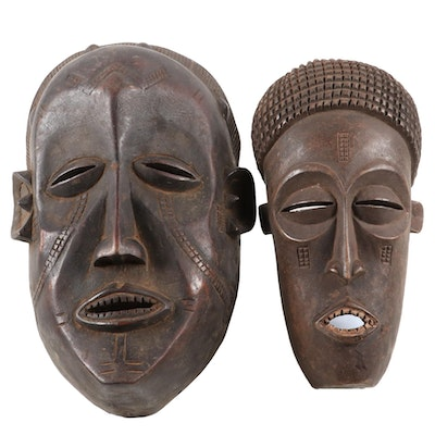 Chokwe Inspired and Tabwa Inspired Wooden Masks, Central Africa
