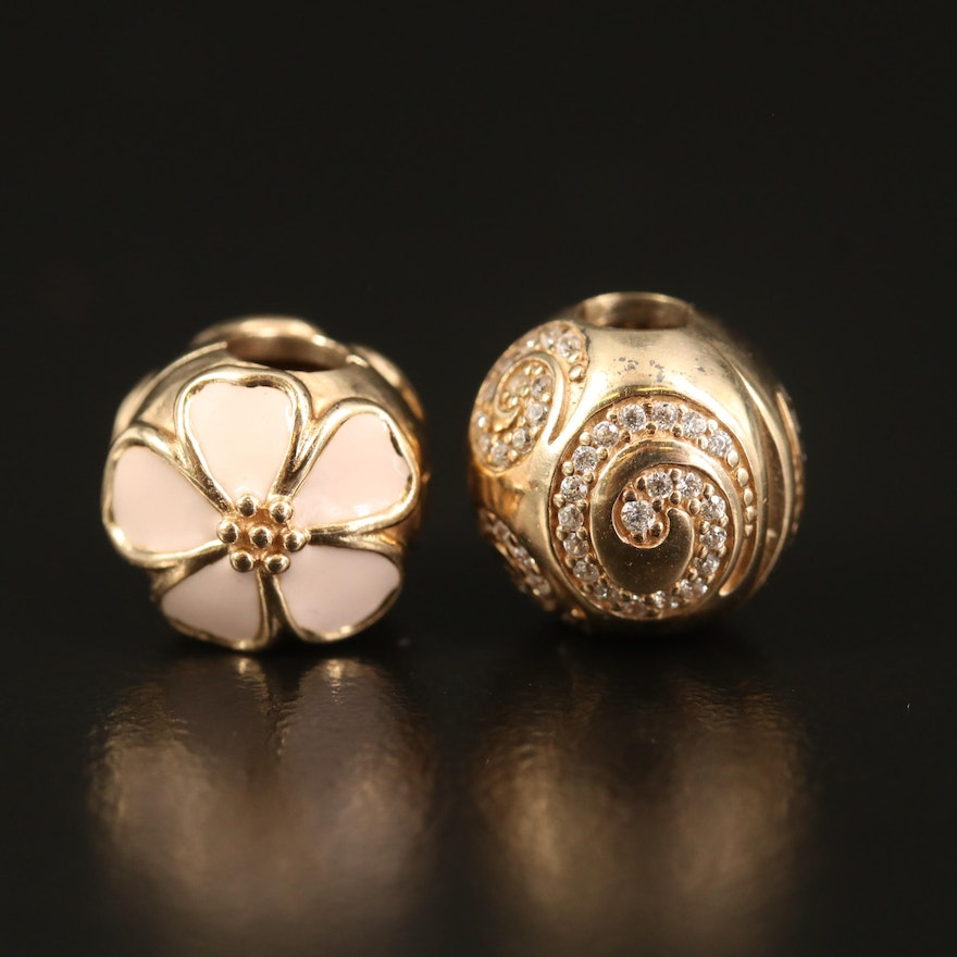Pandora 14K Spiral and Flower Bead Charms with Enamel and Cubic Zirconia