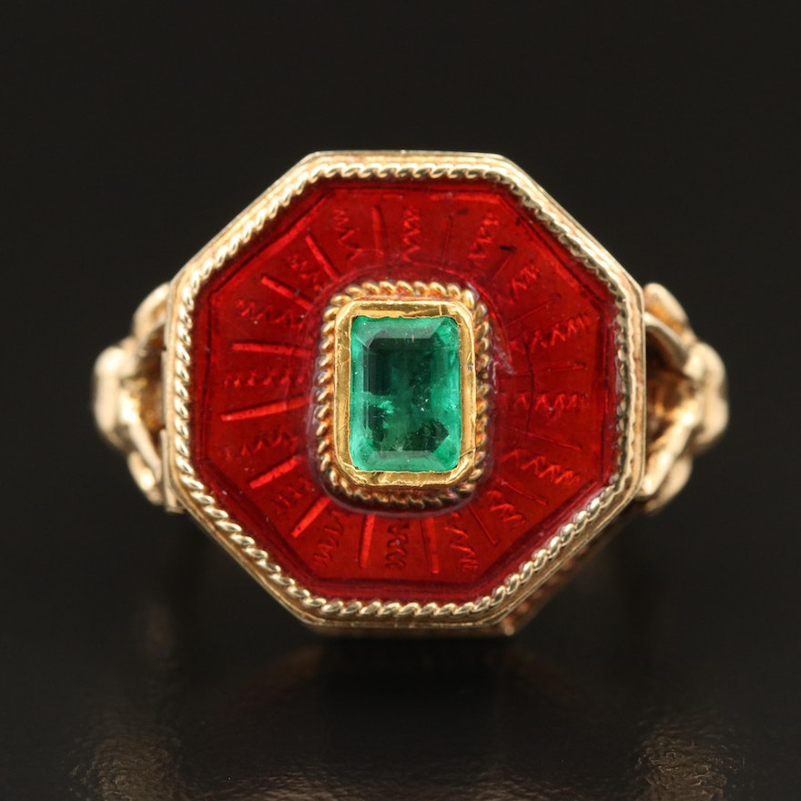 14K Emerald and Enamel Poison Ring with Goat Head Detail