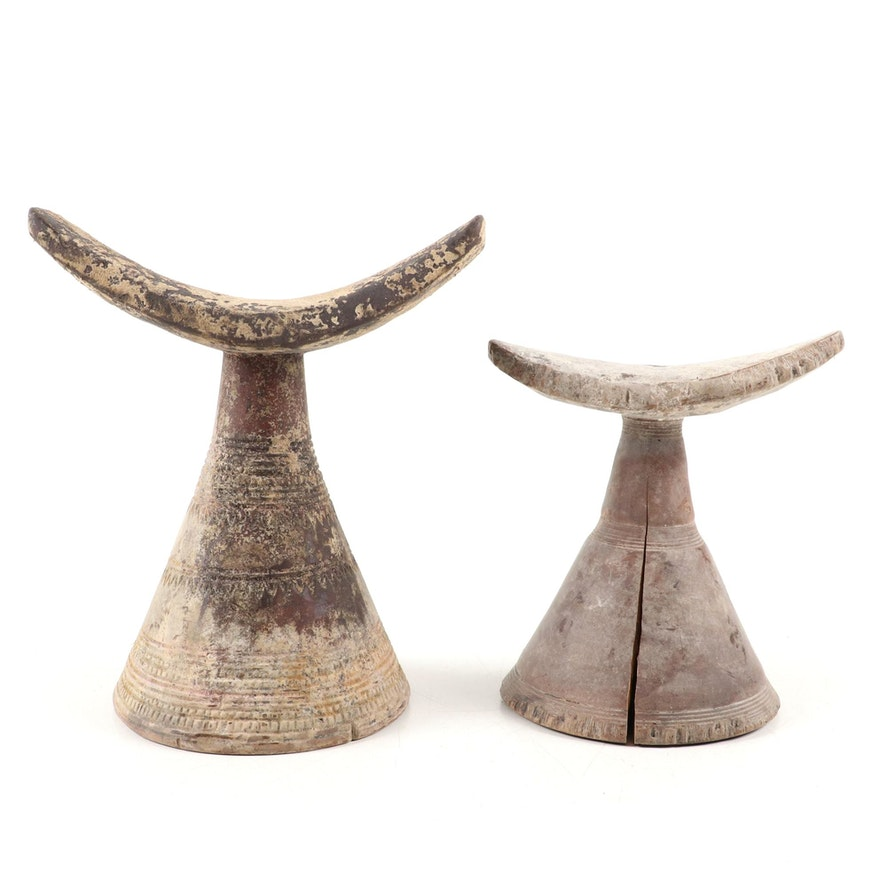 Ethiopian Carved Wood Headrests, Mid-20th Century