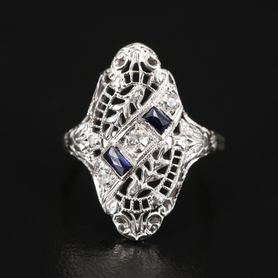 Edwardian 18K Diamond and Sapphire Openwork Ring