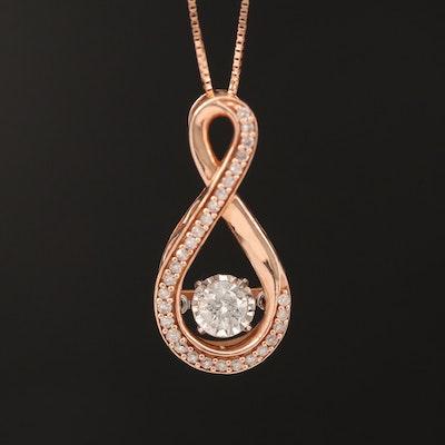 10K Rose Gold Diamond Infinity Flutter Necklace