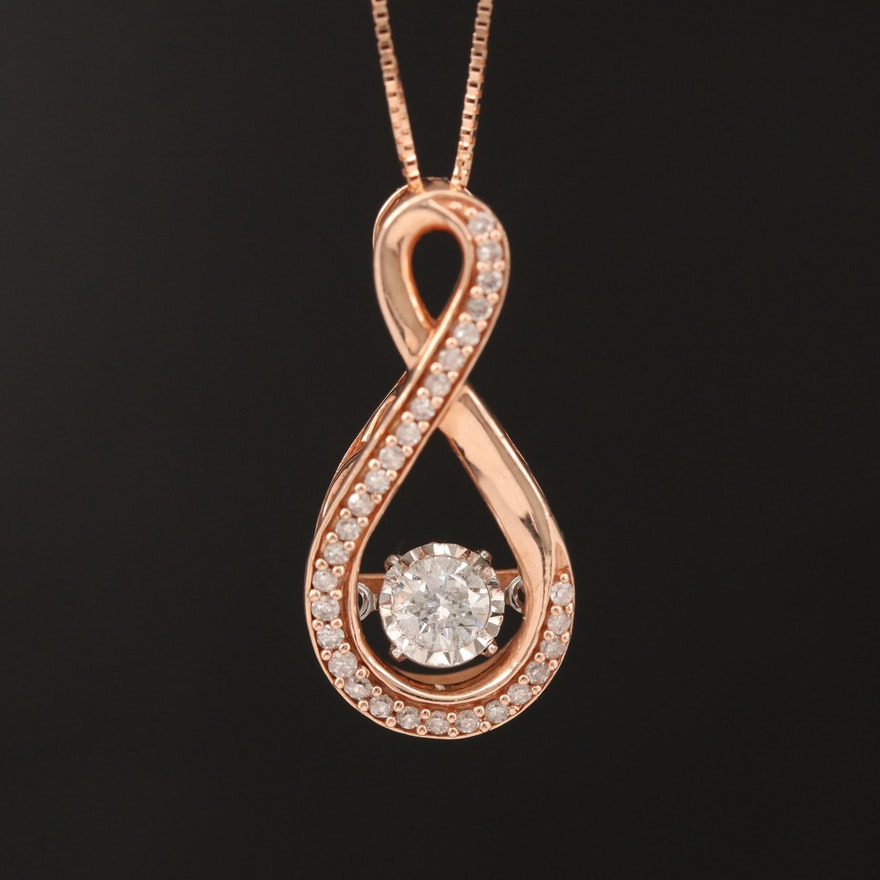10K Rose Gold Diamond Infinity Flutter Necklace