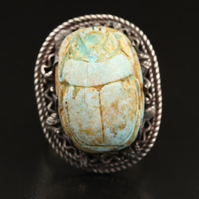 850 Silver Carved Faience Scarab Ring