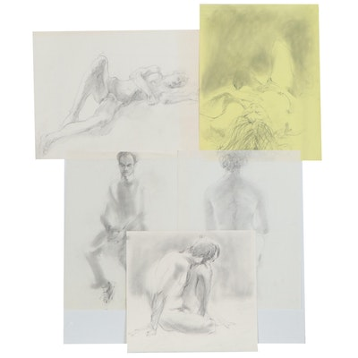 John Tuska Figural Charcoal Drawing, Late 20th Century