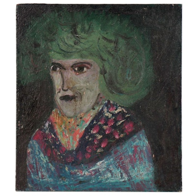 Chuck Barr Abstract Portrait Oil Painting, Late 20th Century