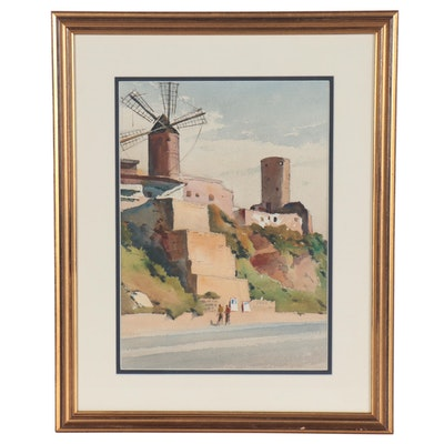 Edmond James Fitzgerald Watercolor Painting of Architectural Landscape