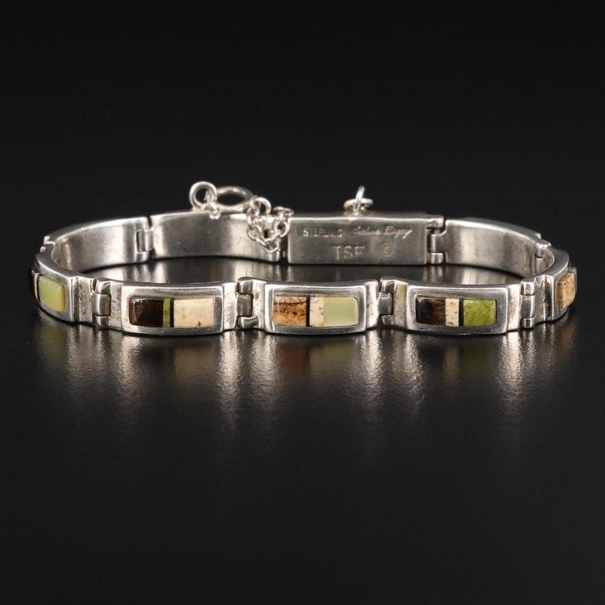 Calvin Begay Navajo Diné Sterling Tiger's Eye and Gemstone Link Bracelet