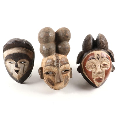 Vuvi, Igbo, and Punu Style Wood Masks, Late 20th Century