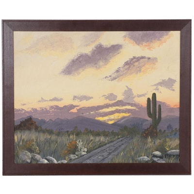 Landscape Oil Painting of Desert Sunset, 2000s