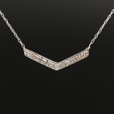 14K Diamond Chevron Necklace