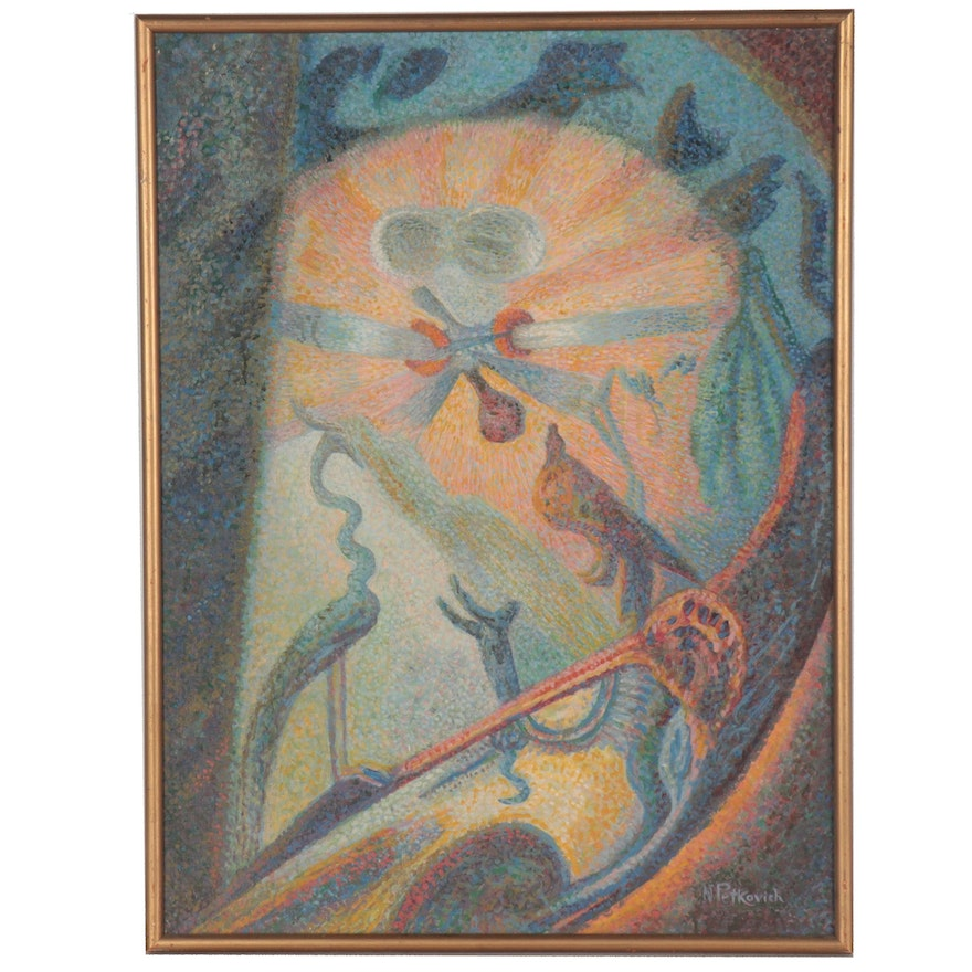 Nicholas Petkovich Surreal Pointillism Style Oil Painting, Mid-20th Century