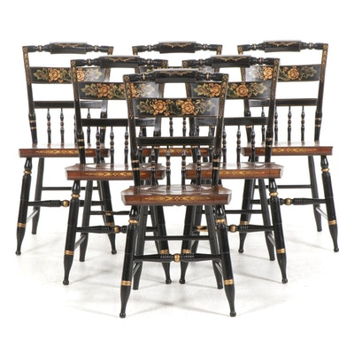 Hitchcock Stencil Painted Maple Side Chairs, Set of Six, Late 20th Century