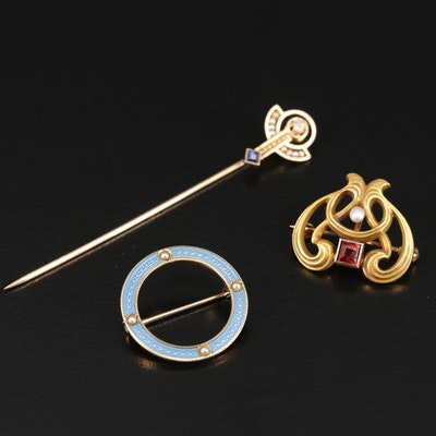 Art Nouveau and Antique 10K and 14K Gemstone Brooches and Pin