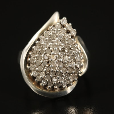 Sterling 1.02 CTW Diamond Teardrop Cluster Ring