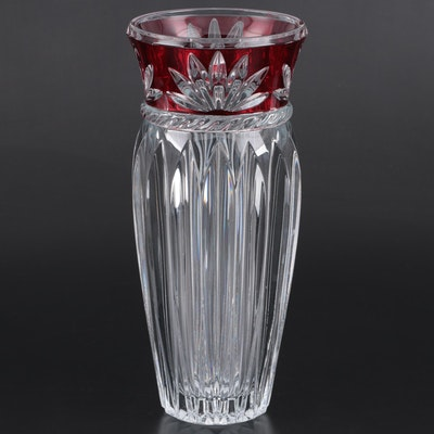 Crystal Vase with Ruby Cut to Clear Neck, Late 20th to 21st Century