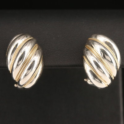 Tiffany & Co. Sterling Silver Earrings with 18K Braided Accents