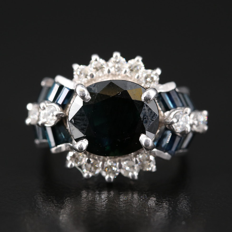10K 4.88 CTW Sapphire and Diamond Ring