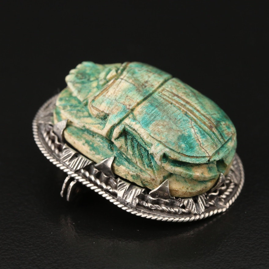 Antique 800 Silver Ceramic Scarab Converter Brooch