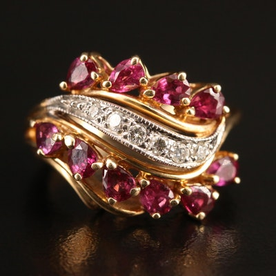 Vintage 14K Ruby and Diamond Ring