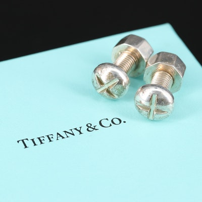Tiffany & Co. Sterling Silver Nut and Bolt Cufflinks with Box