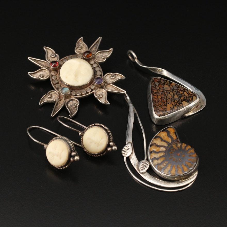 Sterling Converter Brooch, Earrings and Pendants with Ammonite, Bone and Jasper
