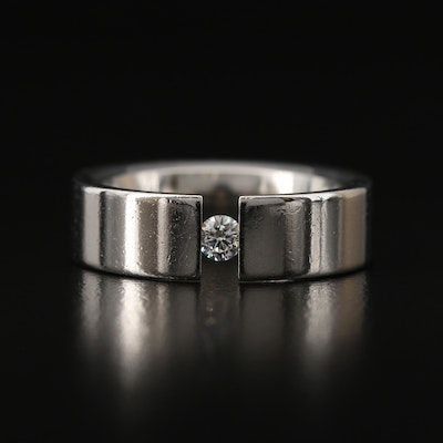 Stainless Diamond Solitaire Band