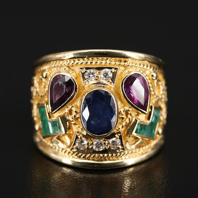 14K Sapphire, Emerald and Diamond Ring